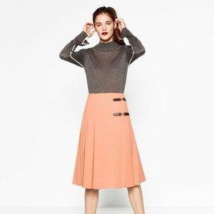 Zara Women Midi Box Pleat Kilt Skirt Dusty Pink XS